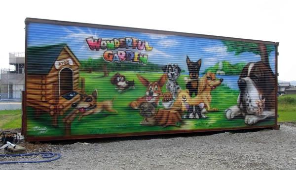 wonderful garden  壁画 手描き 看板